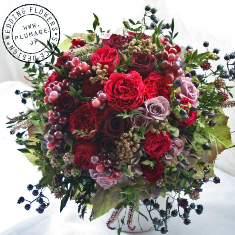 プリザーブドフラワー製赤バラの赤色ブーケ