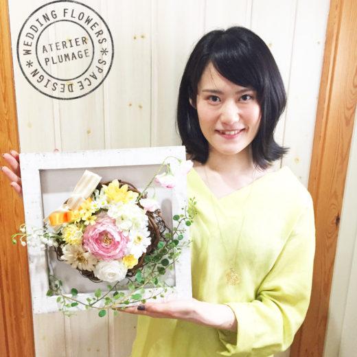 東京フラワーアレンジレッスンお花が選べるフレームアレンジレッスン
