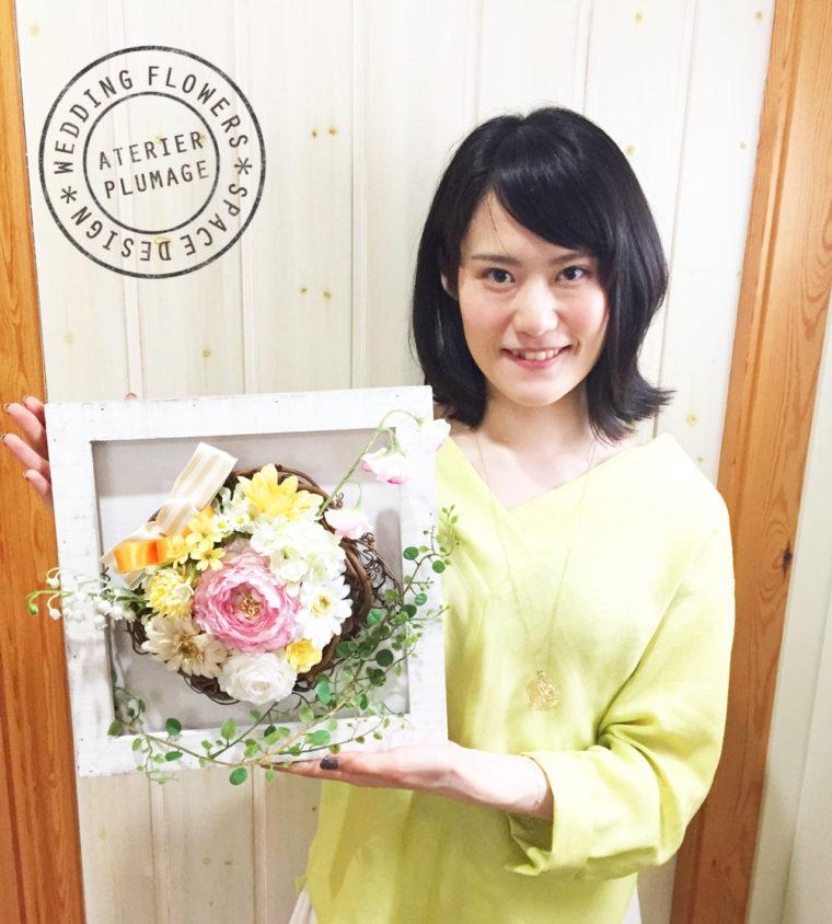 東京フラワーアレンジメントレッスンお花が選べるフレームアレンジレッスン生徒さんの作品