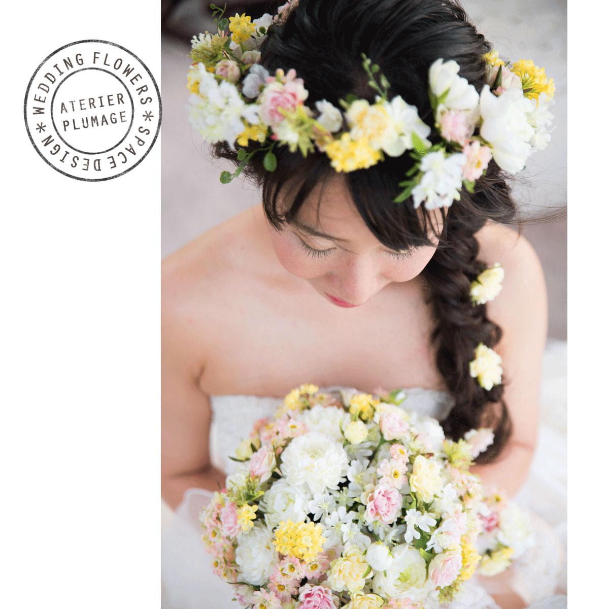 沖縄フォトウェディング用アーティフィシャルフラワーブーケと花冠
