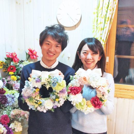 両親贈呈花リースギフトレッスン